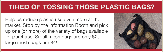 Buy reusable bags at the info booth
